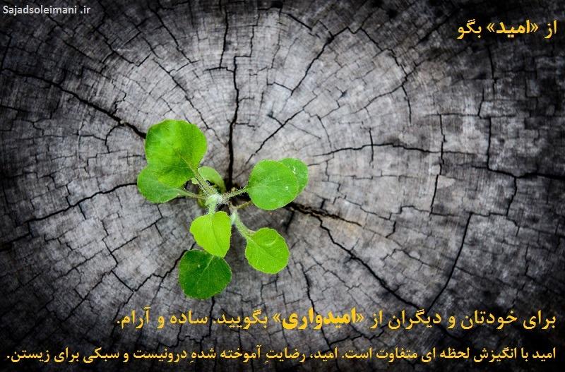از امید بگو امید با انگیزش متفاوت است. امید، رضایتِ آموخته شده ِ درونیست، سبکی برای زیستن.